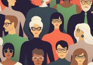 Seamless pattern of many different people